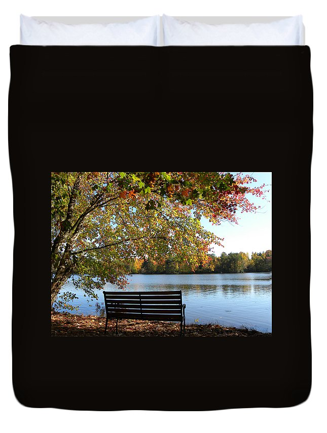 Bench.seat Duvet Cover featuring the photograph A Place For Thanks Giving by Sandi OReilly