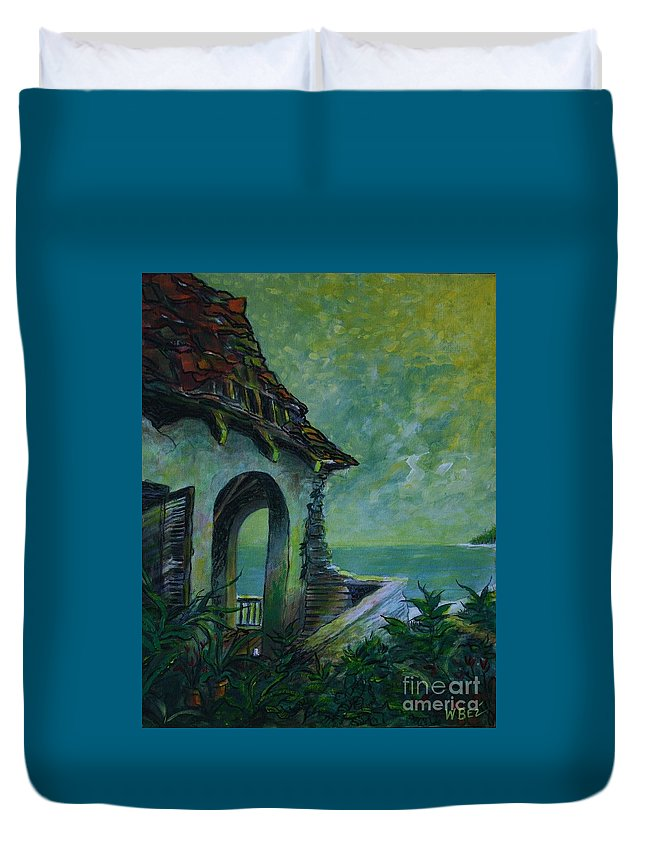Island Art Duvet Cover featuring the painting A Place In The Sun by William Bezik