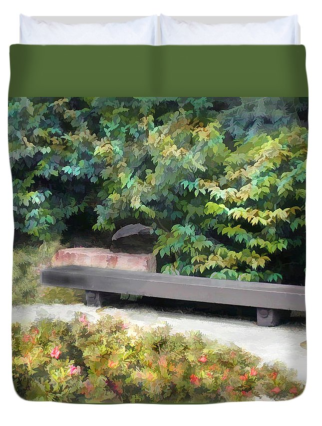 Japanese Garden Duvet Cover featuring the painting A Place Of Contemplation by Elaine Plesser