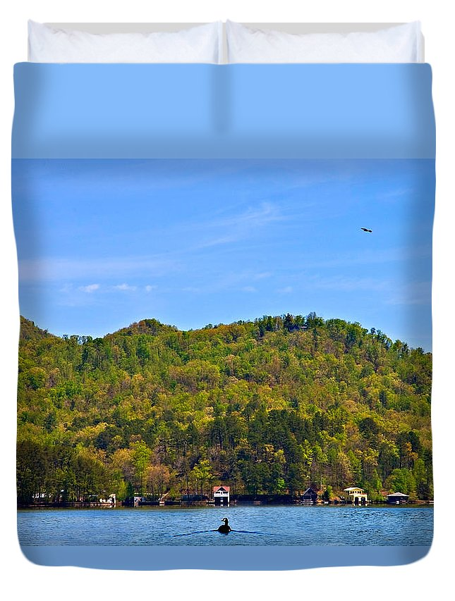 Lake Duvet Cover featuring the photograph A Quiet Day by Susan Leggett