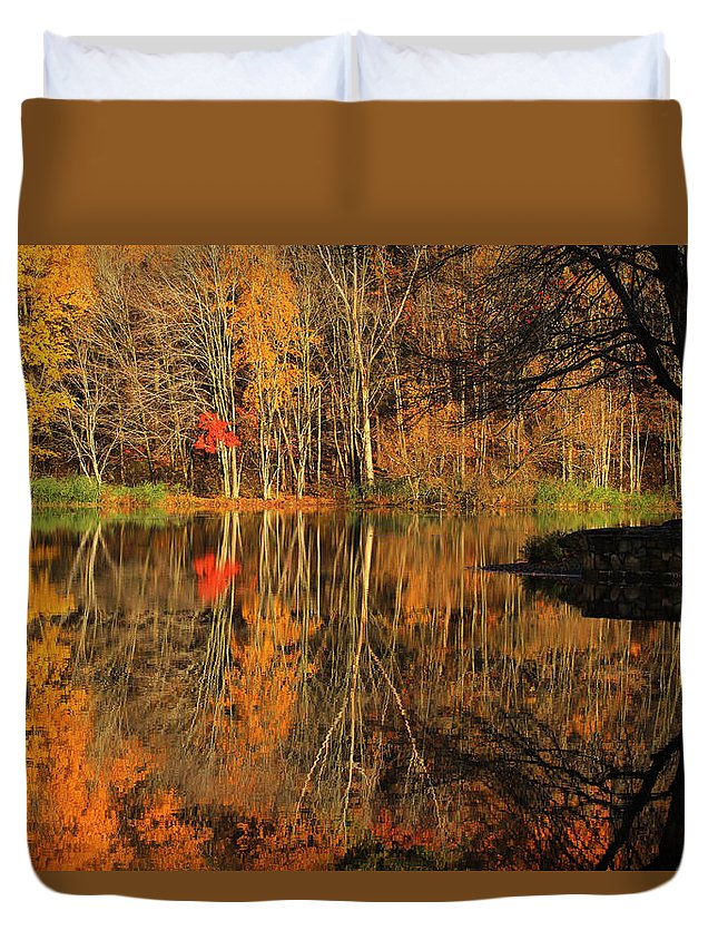 Autumn Duvet Cover featuring the photograph A Reflection Of October by Karol Livote