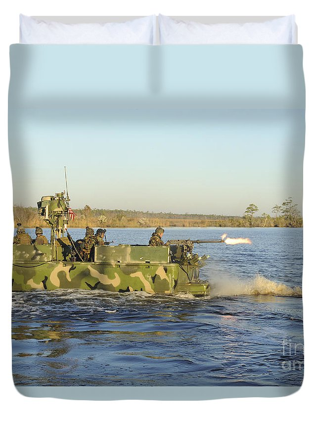 Virginia Duvet Cover featuring the photograph A Riverine Squadron Maneuvers by Stocktrek Images