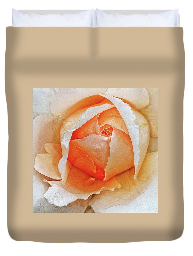 Rose Duvet Cover featuring the photograph A Roses Tear by Dave Mills
