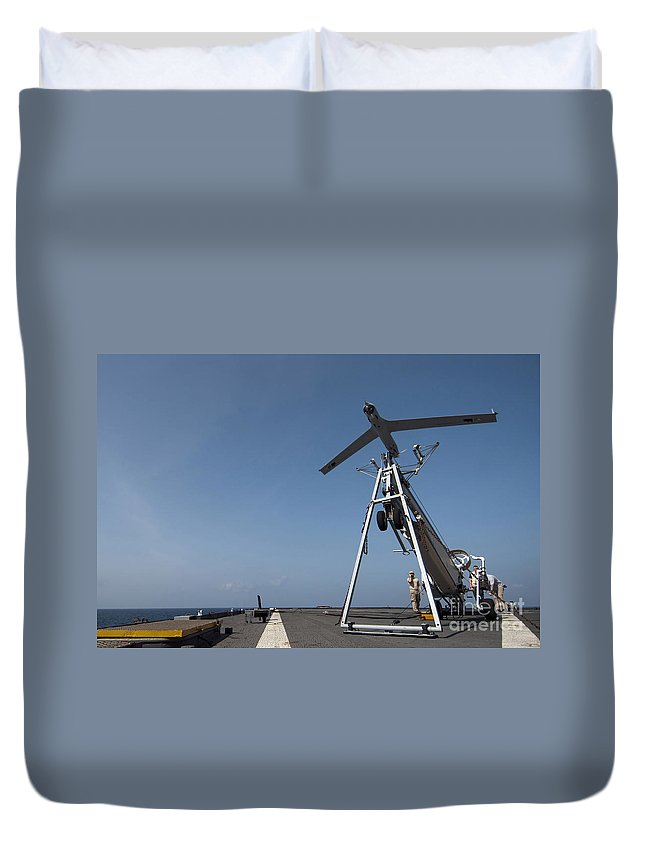Flight Deck Duvet Cover featuring the photograph A Scan Eagle Unmanned Aerial Vehicle by Stocktrek Images