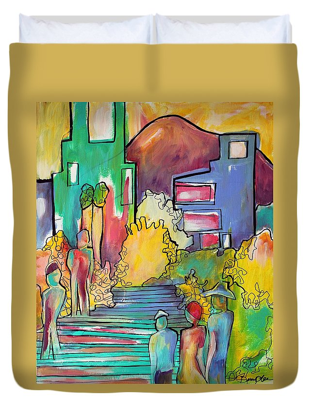 Figures Duvet Cover featuring the painting A Shared Story by Darcy Lee Saxton