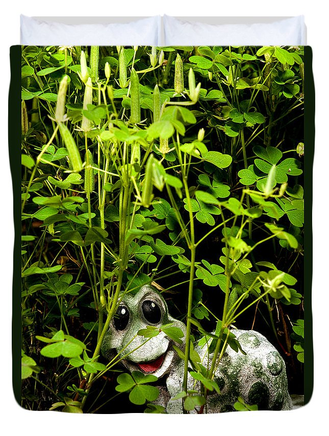 Clover Duvet Cover featuring the photograph A Smile In A Clover Forest by Christopher Holmes