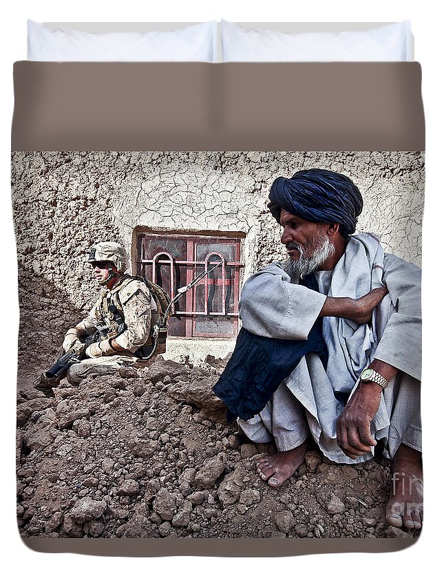 Middle East Duvet Cover featuring the photograph A Soldier Collects Information by Stocktrek Images