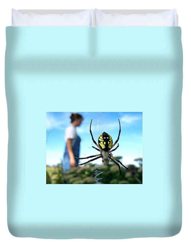 Spider Duvet Cover featuring the photograph A Spider Beside Her by Bill Pevlor