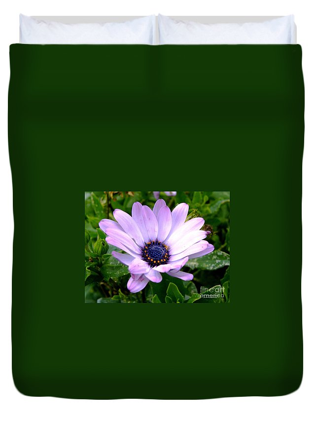 Flower Duvet Cover featuring the photograph A Spider's Center by Tisha Clinkenbeard