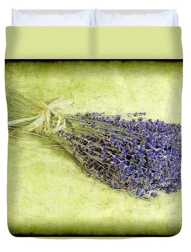 Lavender Duvet Cover featuring the photograph A Spray Of Lavender by Judi Bagwell