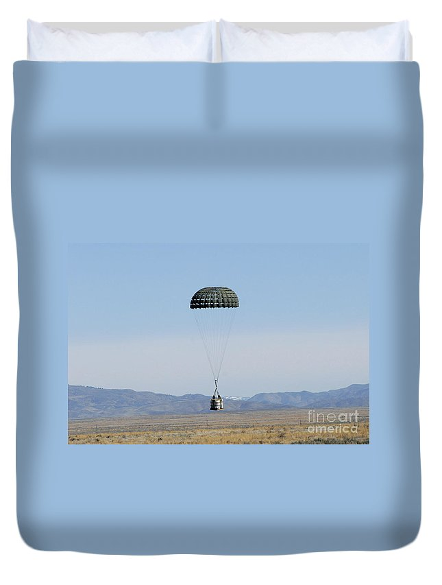 Copy Space Duvet Cover featuring the photograph A Standard Container Delivery System by Stocktrek Images
