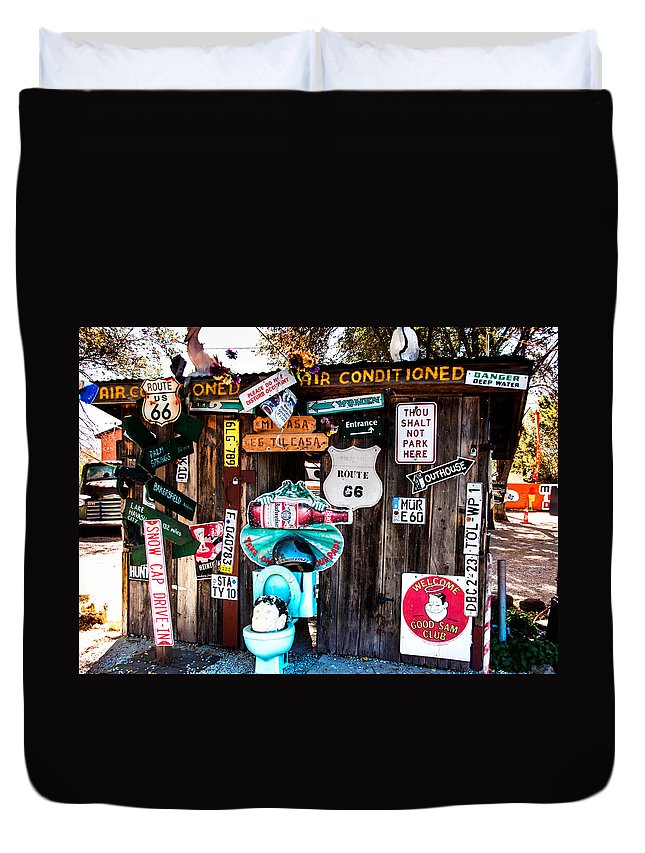 Signs Duvet Cover featuring the photograph A Stop Along Route 66 by Diane Wood
