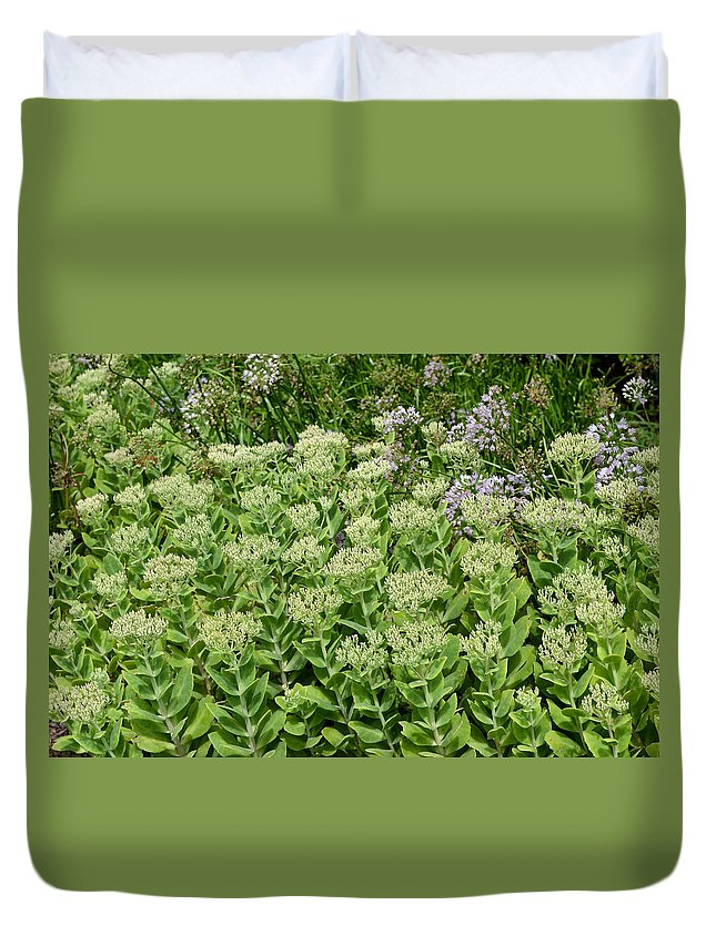 Nature Duvet Cover featuring the digital art A Stroll Down The Garden Path by Eva Kaufman