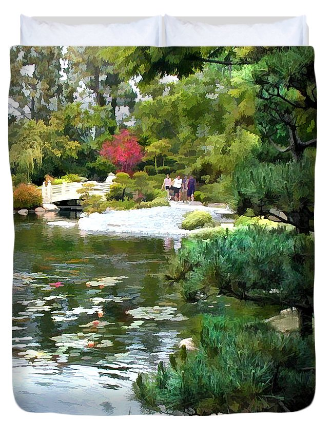 Japanese Garden Duvet Cover featuring the painting A Stroll In Peace And Tranquility by Elaine Plesser