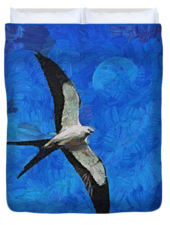 A Swallow Duvet Cover featuring the painting A Swallow And The Moon by Dragica Micki Fortuna