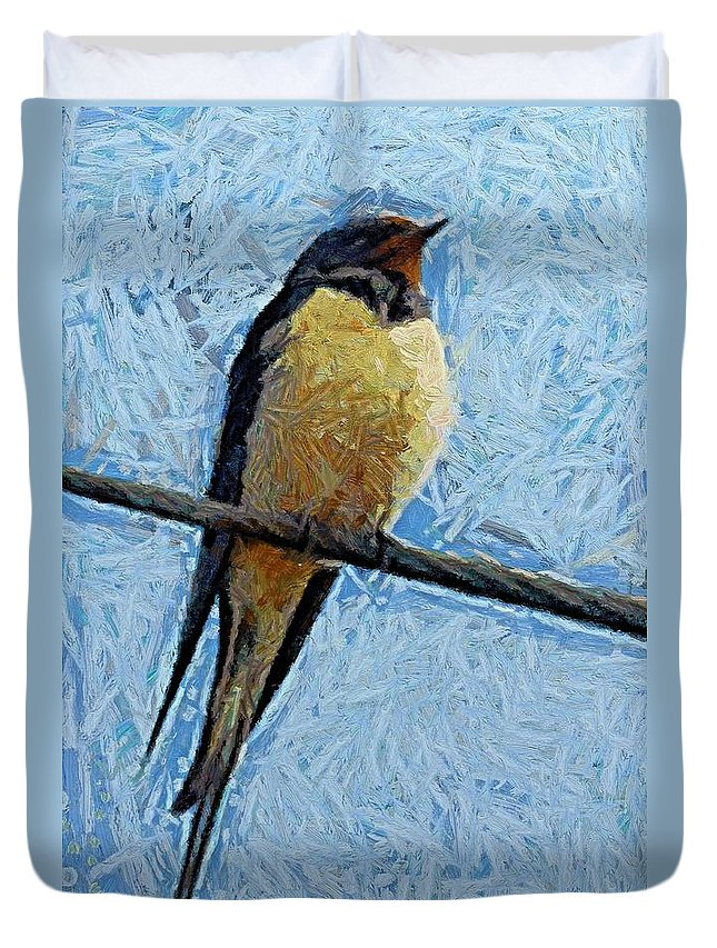 A Swallow Duvet Cover featuring the painting A Swallow On A Wire by Dragica Micki Fortuna