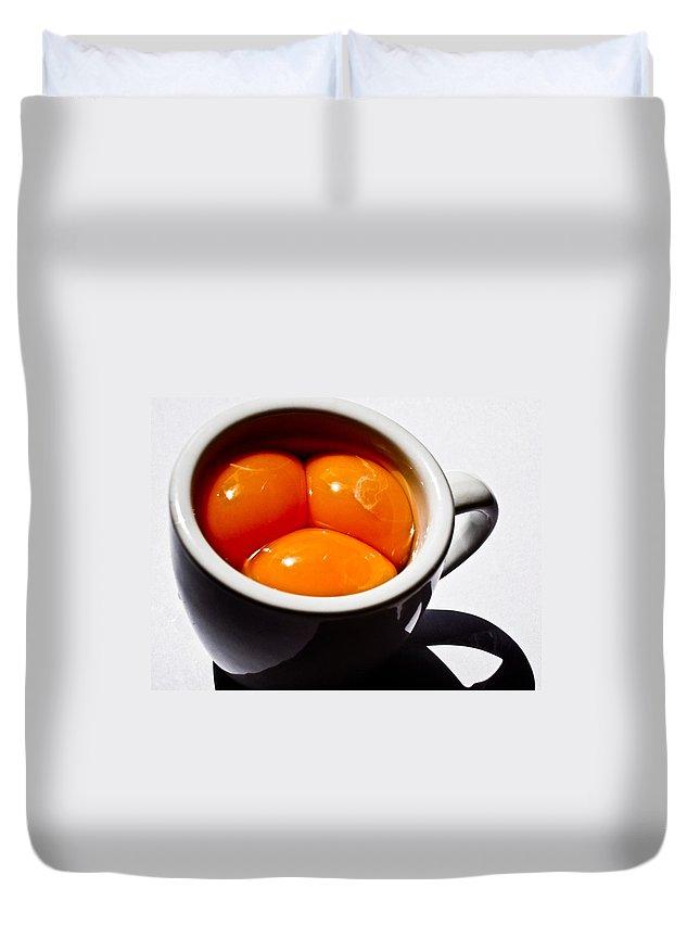 Art Duvet Cover featuring the photograph A Triple Eggspresso by Hakon Soreide
