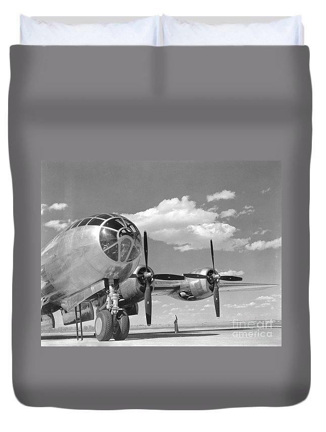 B-29 Duvet Cover featuring the photograph A U.s. Army Air Forces B-29 by Stocktrek Images