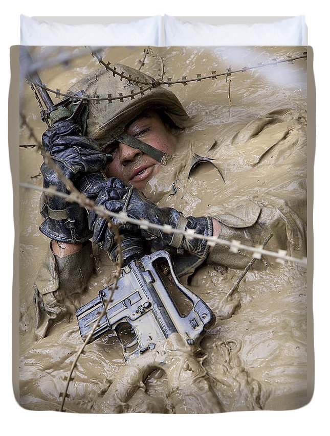 Perseverance Duvet Cover featuring the photograph A U.s. Marine Participates by Stocktrek Images