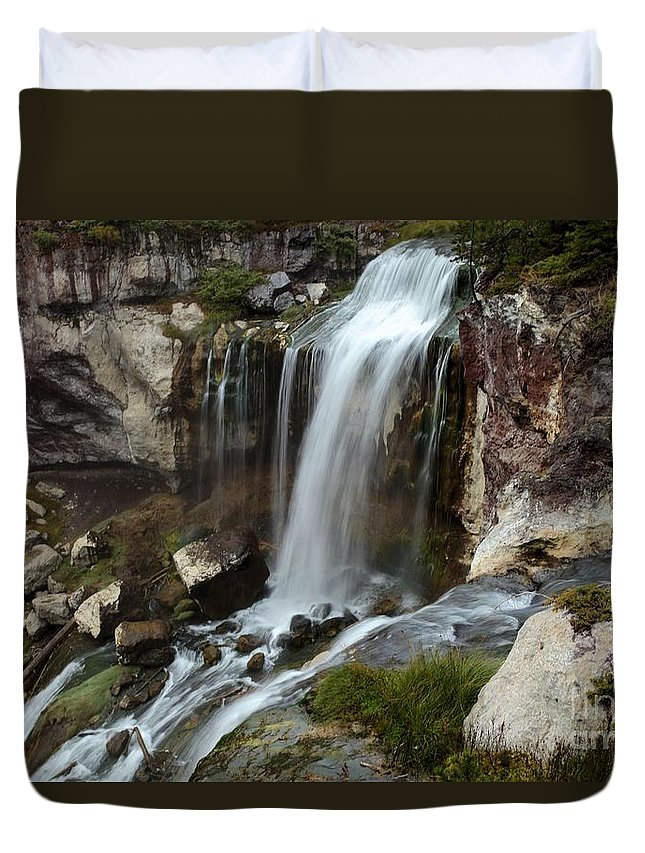 Paulina Falls Duvet Cover featuring the photograph A View From The Edge by Adam Jewell