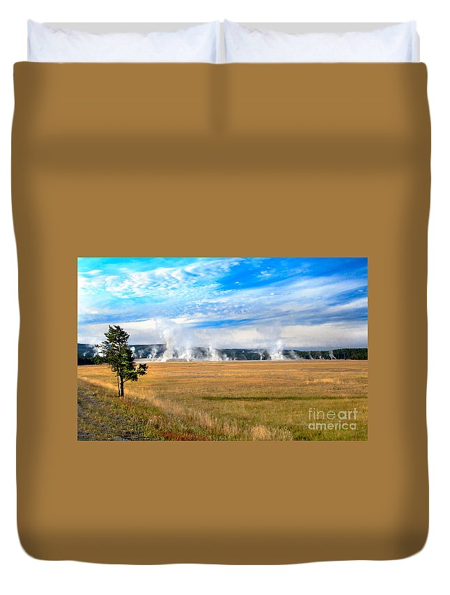 Great Fountain Geyser Duvet Cover featuring the photograph A View Of Geysers by Robert Bales