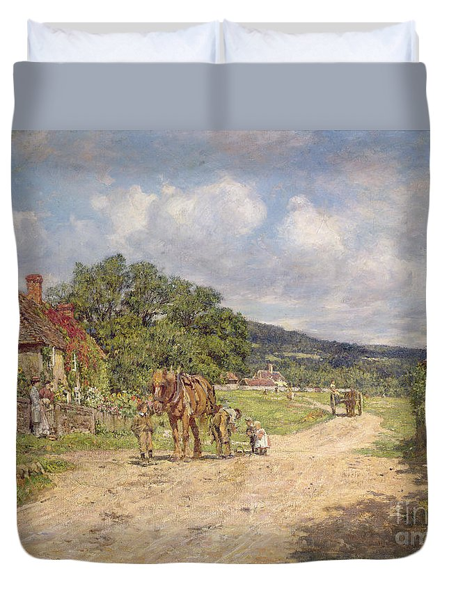 Street; Cottage; Lane; Carthorse; Blacksmith; Shoeing; Children; Green; Victorian; Cart; Rural Idyll; Women; Idyllic; Villagers; Clouds Duvet Cover featuring the painting A Village Scene by James Charles
