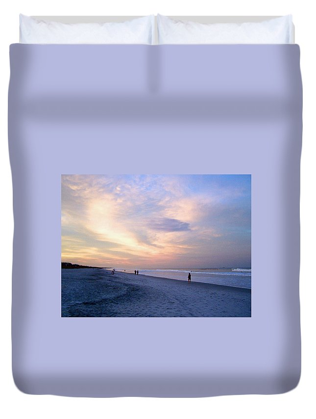 Sunset Duvet Cover featuring the photograph A Walk On The Beach by Patricia Taylor