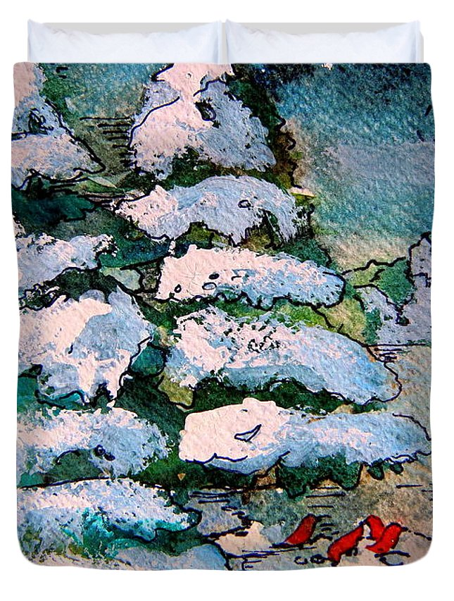 Christmas Duvet Cover featuring the painting A Winter Feast by Mindy Newman