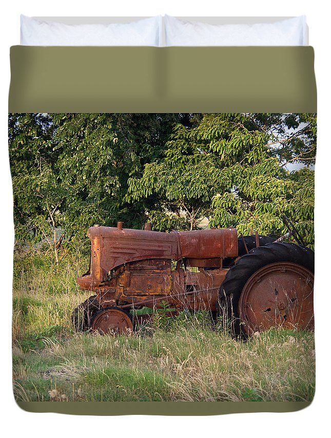 Tractor Duvet Cover featuring the photograph Abandonded Farm Tractor 2 by Douglas Barnett