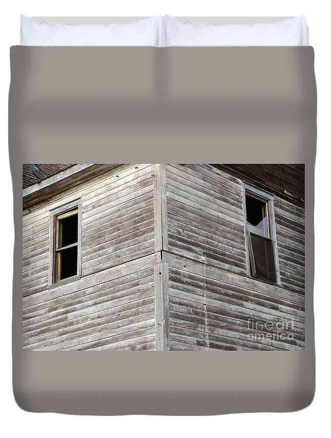 Windows Duvet Cover featuring the photograph Abandoned Building 2 by Bob Christopher