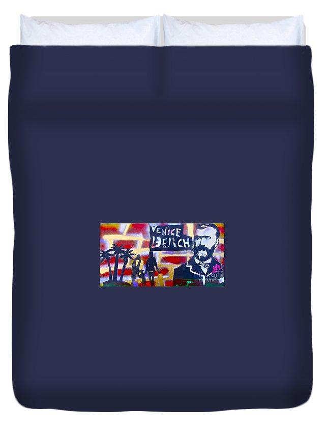 Abbott Kinney Ocean Duvet Cover featuring the painting Abbott Kinney 2 by Tony B Conscious