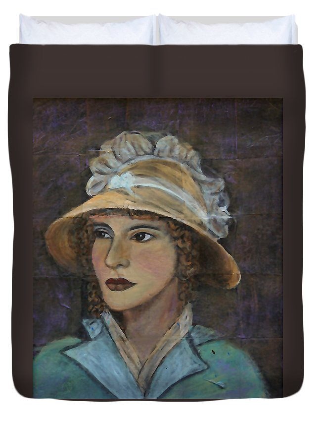 Lady In Hat Series Duvet Cover featuring the painting Abigail by The Art With A Heart By Charlotte Phillips