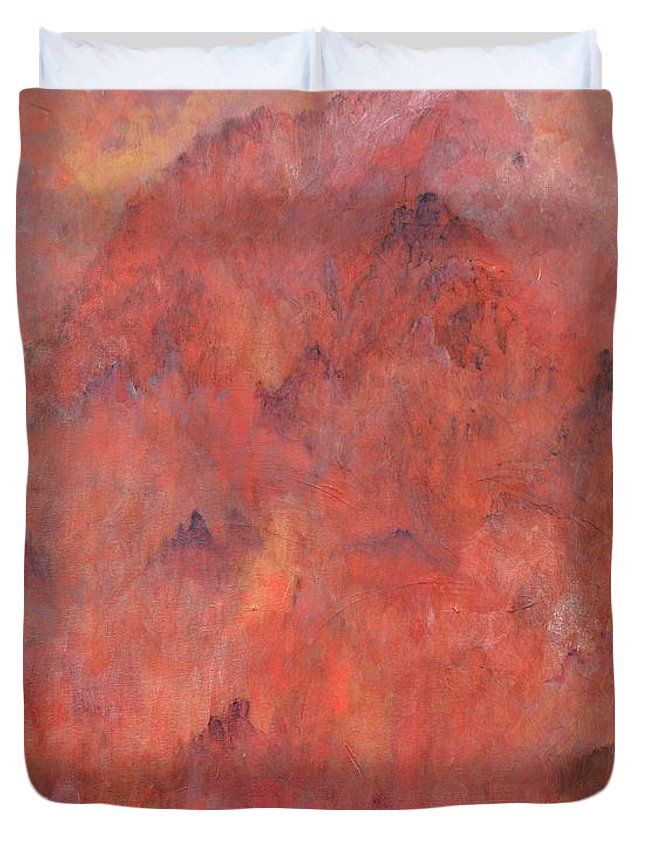 Abstract Duvet Cover featuring the painting Abode Of The Immortals by Ruth Drayer