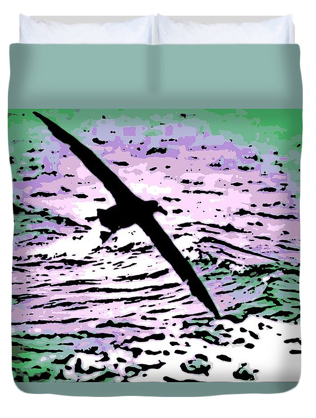 Flight Duvet Cover featuring the photograph Above The Waves by George Pedro