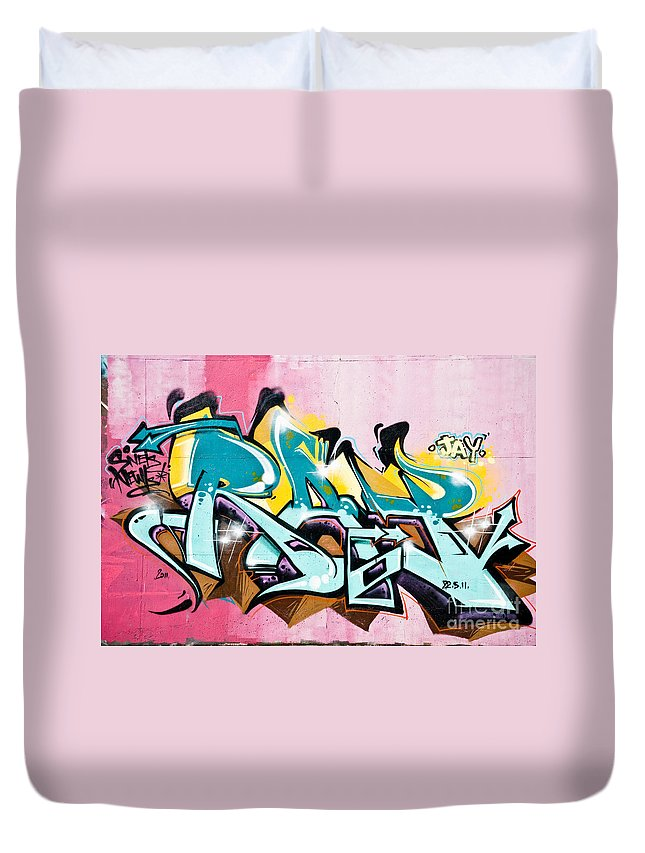 Abstract Duvet Cover featuring the painting Absrtact Graffiti On The Textured Wall by Yurix Sardinelly