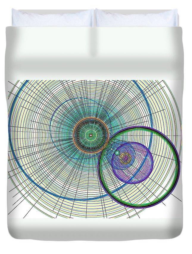 Art Duvet Cover featuring the digital art Abstract Circle Art by David Pyatt