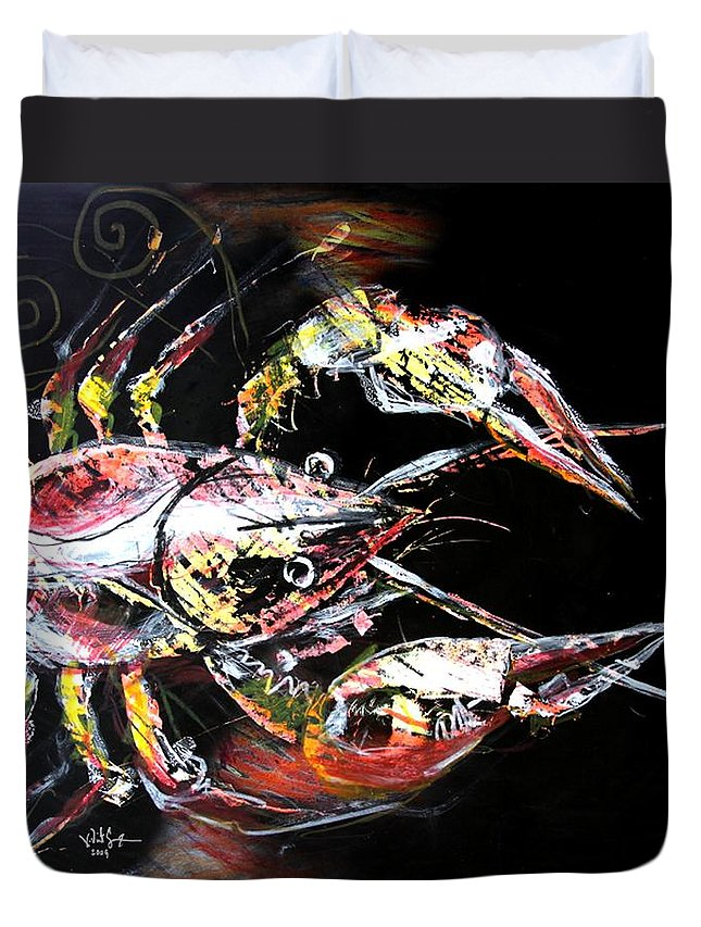 Crawdad Duvet Cover featuring the painting Abstract Crawfish by J Vincent Scarpace