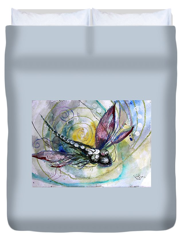 Dragonfly Duvet Cover featuring the painting Abstract Dragonfly 11 by J Vincent Scarpace