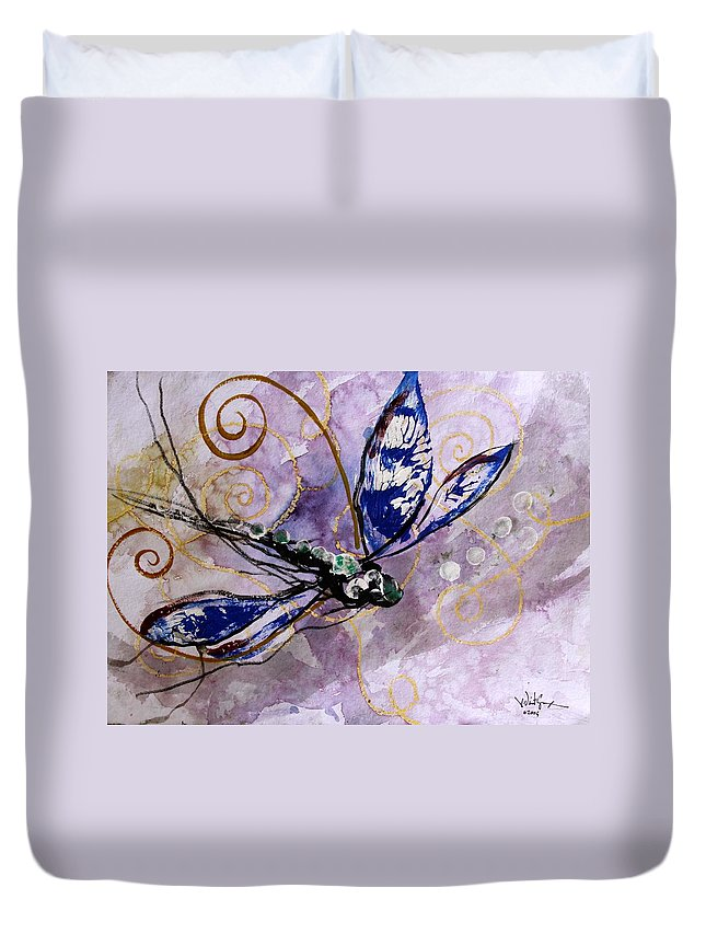 Dragonfly Duvet Cover featuring the painting Abstract Dragonfly 9 by J Vincent Scarpace