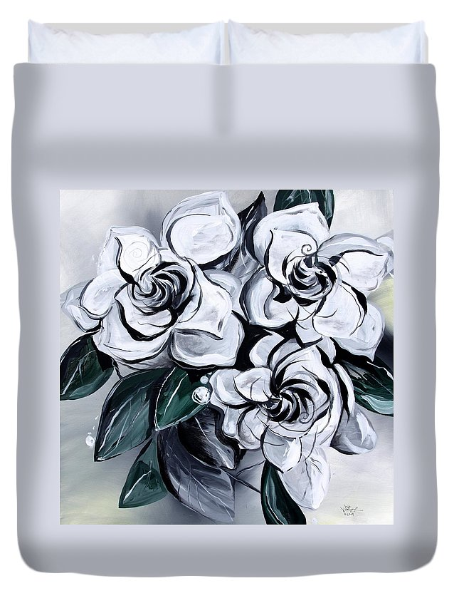 Gardenias Duvet Cover featuring the painting Abstract Gardenias by J Vincent Scarpace