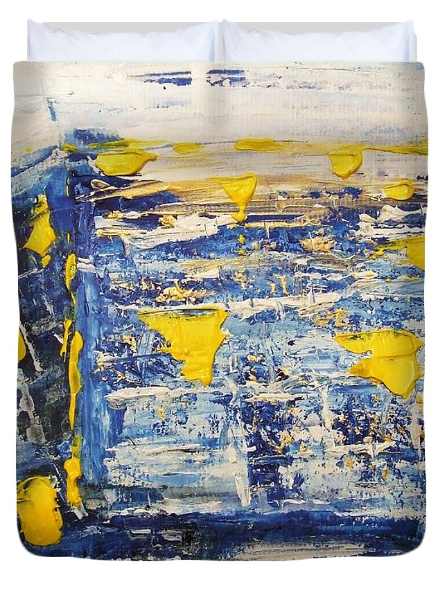 Kotel Duvet Cover featuring the painting Abstract Kotel Prayer At The Western Wall Waiting For Peace In Blue Yellow Silver Jerusalem Israel by M Zimmerman