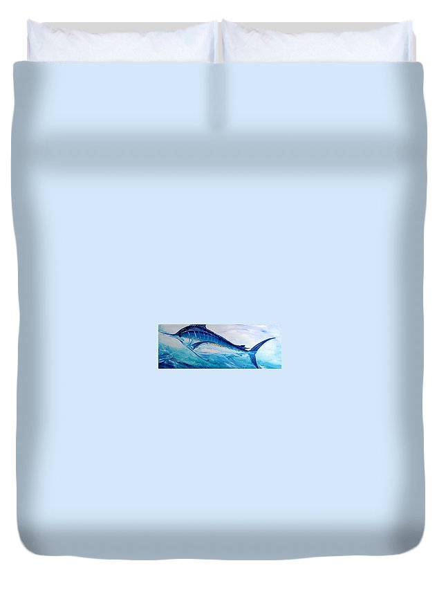 Fish Duvet Cover featuring the painting Abstract Marlin by J Vincent Scarpace