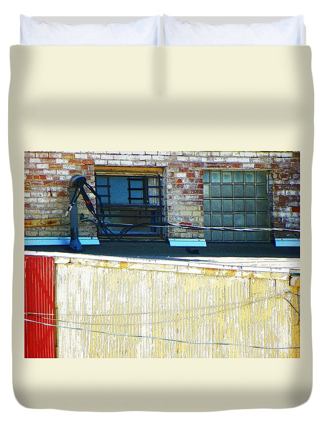 Abstract Duvet Cover featuring the photograph Across The Alley by Lenore Senior