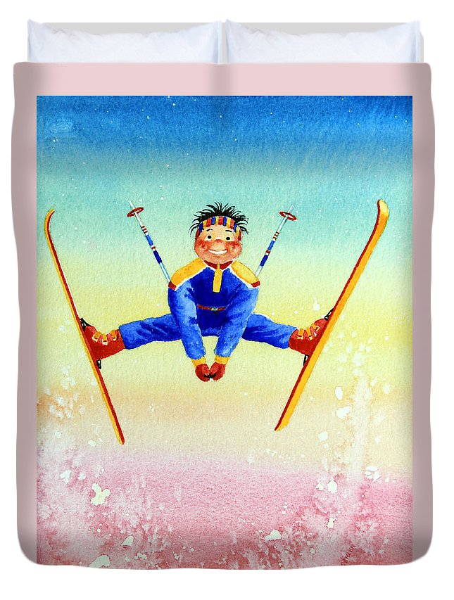 Canadian Kids Book Illustrator Duvet Cover featuring the painting Aerial Skier 17 by Hanne Lore Koehler