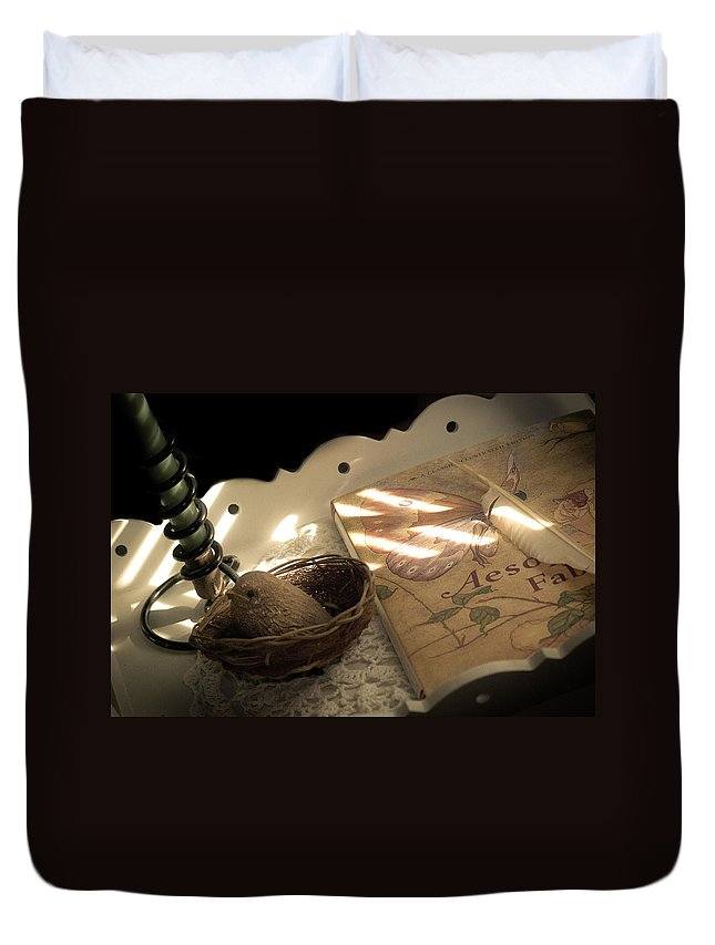 Book Duvet Cover featuring the photograph Aesop's Fable by Trish Tritz