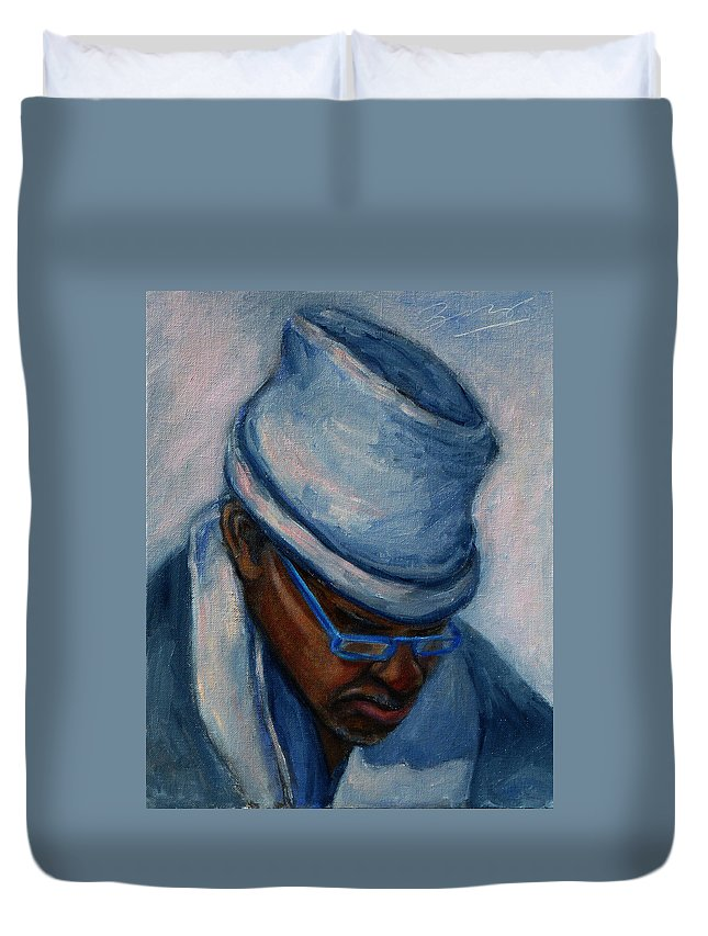 African American Duvet Cover featuring the painting African American 1 by Xueling Zou