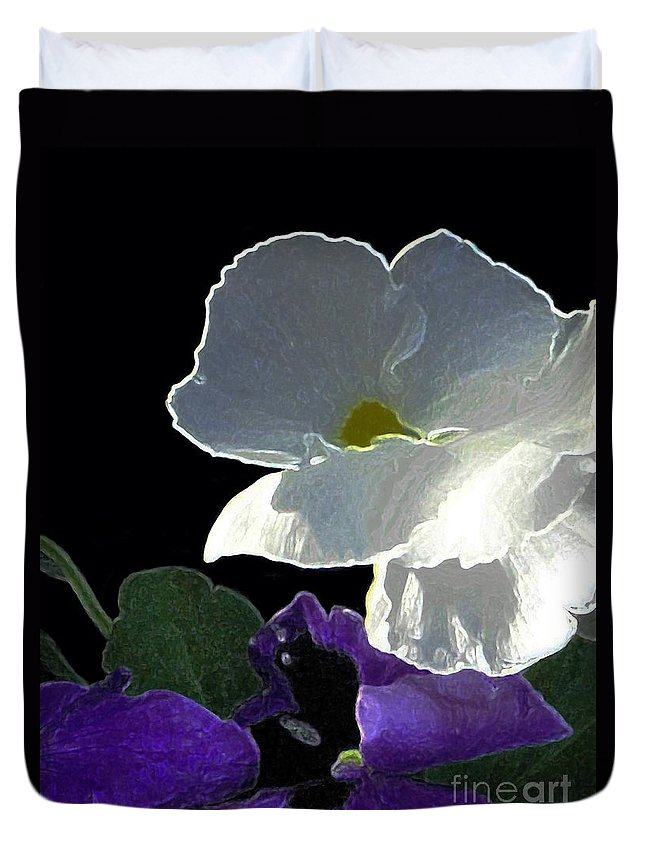 Flowers Duvet Cover featuring the digital art African Violets by Dale  Ford