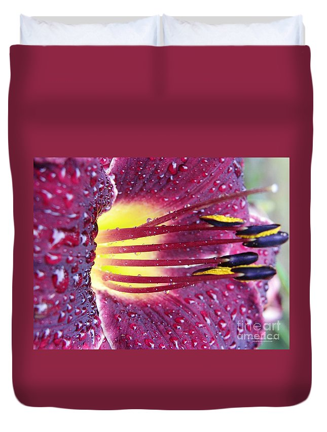 Lily Duvet Cover featuring the photograph After The Shower by Tisha Clinkenbeard