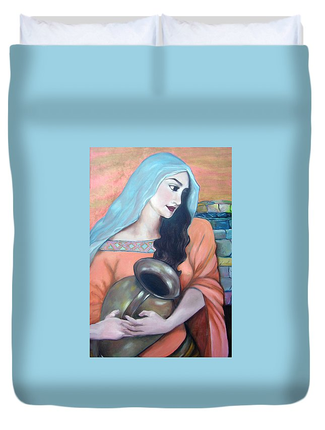 Woman Duvet Cover featuring the painting Agua Del Pozo by Veronica Zimmerman