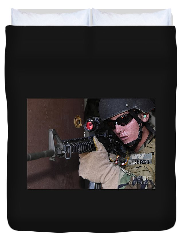 Aiming Duvet Cover featuring the photograph Airman Posts Security At The Front Door by Stocktrek Images